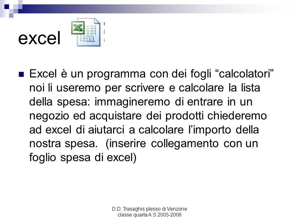 D.D. Trasaghis plesso di Venzone classe quarta A.S.2005-2006 excel Excel è un programma con dei fogli calcolatori noi li useremo per scrivere e calcol