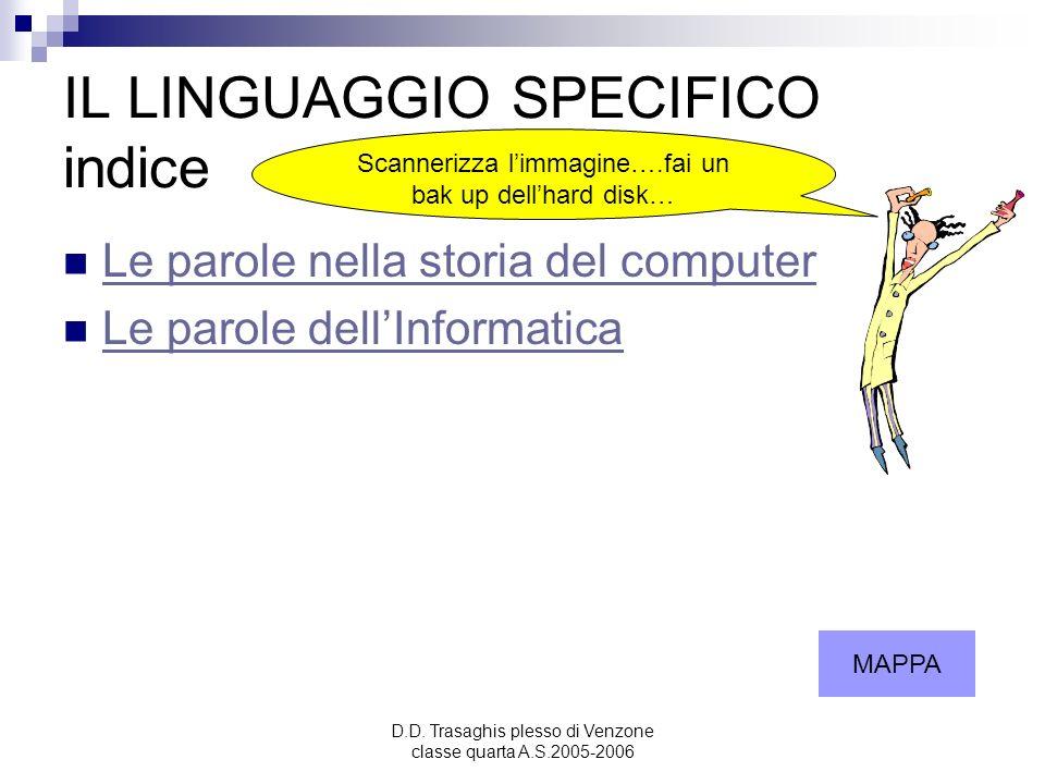 D.D. Trasaghis plesso di Venzone classe quarta A.S.2005-2006 IL LINGUAGGIO SPECIFICO indice Le parole nella storia del computer Le parole dellInformat