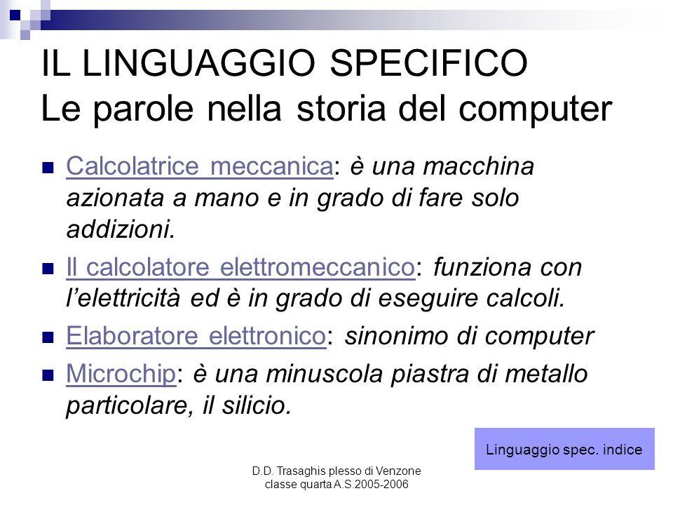 D.D. Trasaghis plesso di Venzone classe quarta A.S.2005-2006 IL LINGUAGGIO SPECIFICO Le parole nella storia del computer Calcolatrice meccanica: è una