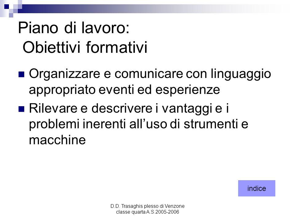 D.D. Trasaghis plesso di Venzone classe quarta A.S.2005-2006 Piano di lavoro: Obiettivi formativi Organizzare e comunicare con linguaggio appropriato