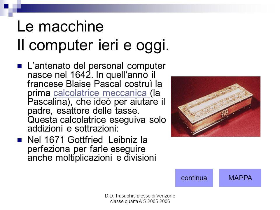 D.D. Trasaghis plesso di Venzone classe quarta A.S.2005-2006 Le macchine Il computer ieri e oggi. Lantenato del personal computer nasce nel 1642. In q