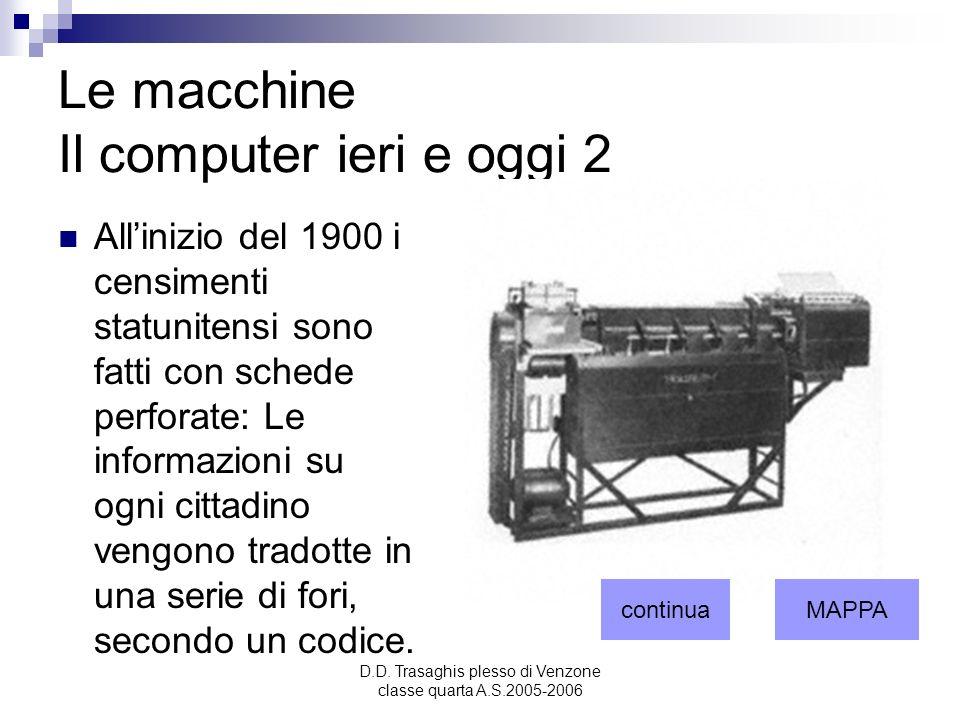 D.D. Trasaghis plesso di Venzone classe quarta A.S.2005-2006 Le macchine Il computer ieri e oggi 2 Allinizio del 1900 i censimenti statunitensi sono f