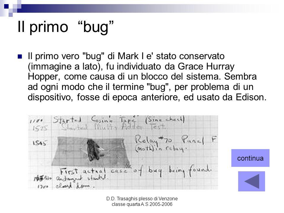 D.D. Trasaghis plesso di Venzone classe quarta A.S.2005-2006 Il primo bug Il primo vero