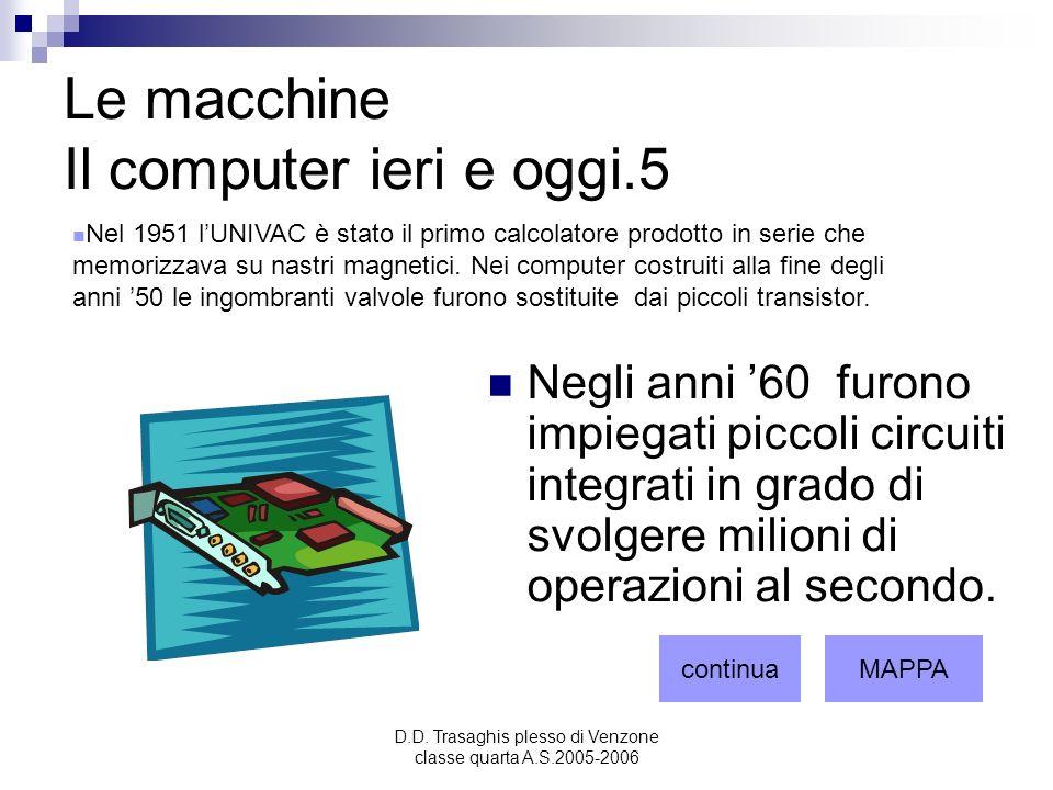D.D. Trasaghis plesso di Venzone classe quarta A.S.2005-2006 Le macchine Il computer ieri e oggi.5 Negli anni 60 furono impiegati piccoli circuiti int