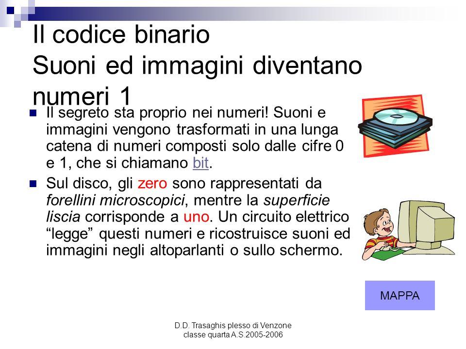 D.D. Trasaghis plesso di Venzone classe quarta A.S.2005-2006 Il codice binario Suoni ed immagini diventano numeri 1 Il segreto sta proprio nei numeri!