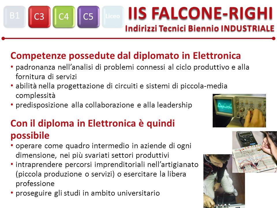 Indirizzi Tecnici Biennio INDUSTRIALE C3C4C5 IIS FALCONE-RIGHI B1 Liceo Con il diploma in Elettronica è quindi possibile operare come quadro intermedi