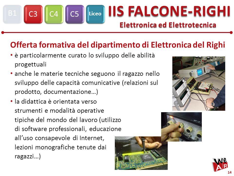 Elettronica ed Elettrotecnica C3C4C5 IIS FALCONE-RIGHI S1 B1 Liceo 14 è particolarmente curato lo sviluppo delle abilità progettuali anche le materie