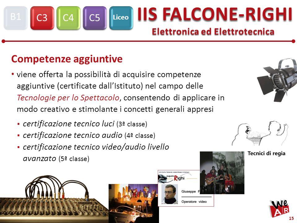 Elettronica ed Elettrotecnica C3C4C5 IIS FALCONE-RIGHI S1 B1 Liceo 15 Competenze aggiuntive viene offerta la possibilità di acquisire competenze aggiu