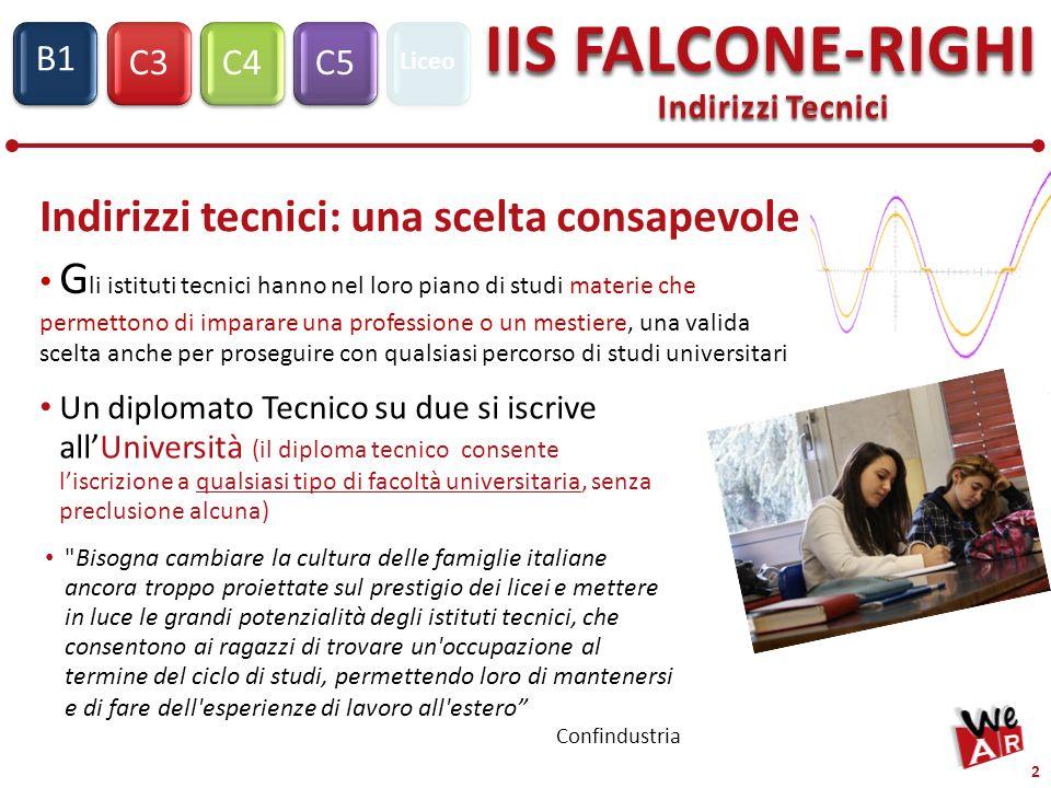 Indirizzi Tecnici C3C4C5 IIS FALCONE-RIGHI S1 B1 Liceo 2 Indirizzi tecnici: una scelta consapevole G li istituti tecnici hanno nel loro piano di studi