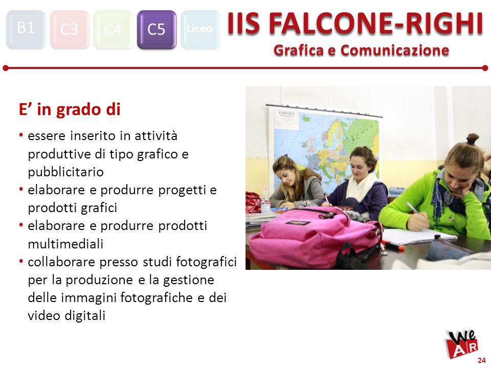 Grafica e Comunicazione C3C4C5 IIS FALCONE-RIGHI S1 B1 Liceo 24 essere inserito in attività produttive di tipo grafico e pubblicitario elaborare e pro