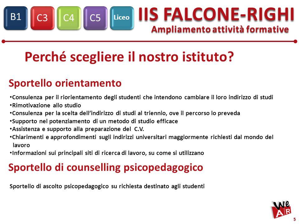 C3C4C5 IIS FALCONE-RIGHI S1 B1 Liceo 5 Ampliamento attività formative Consulenza per il riorientamento degli studenti che intendono cambiare il loro i