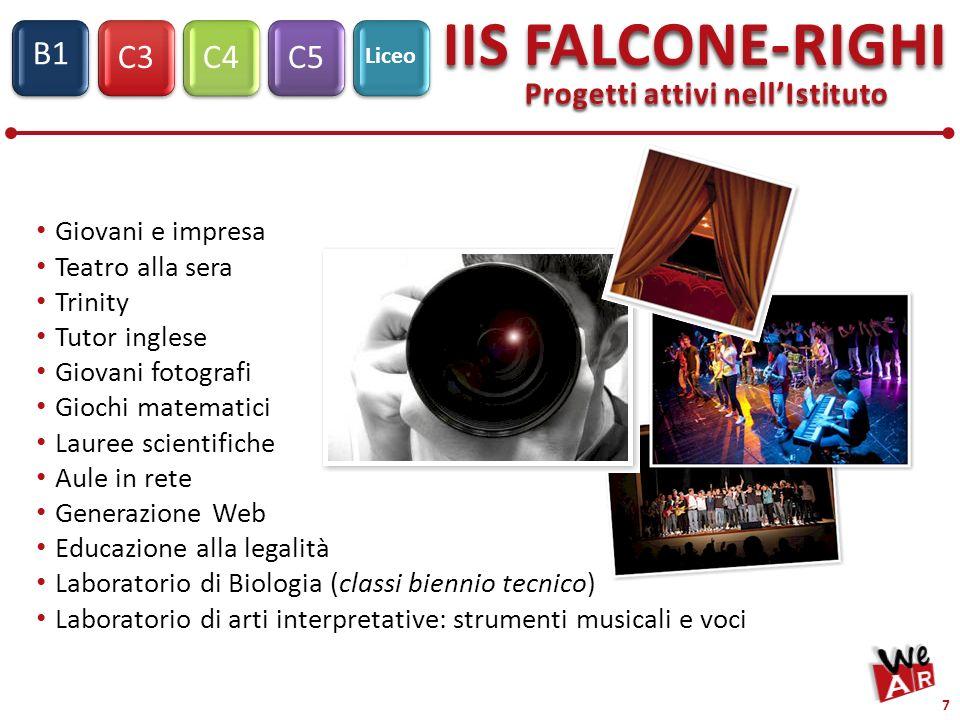 C3C4C5 IIS FALCONE-RIGHI S1 B1 Liceo 7 Progetti attivi nellIstituto Giovani e impresa Teatro alla sera Trinity Tutor inglese Giovani fotografi Giochi