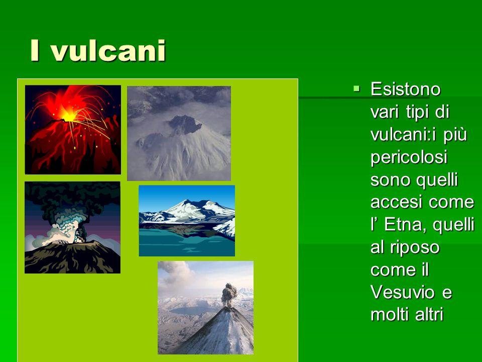 I vulcani Esistono vari tipi di vulcani:i più pericolosi sono quelli accesi come l Etna, quelli al riposo come il Vesuvio e molti altri Esistono vari