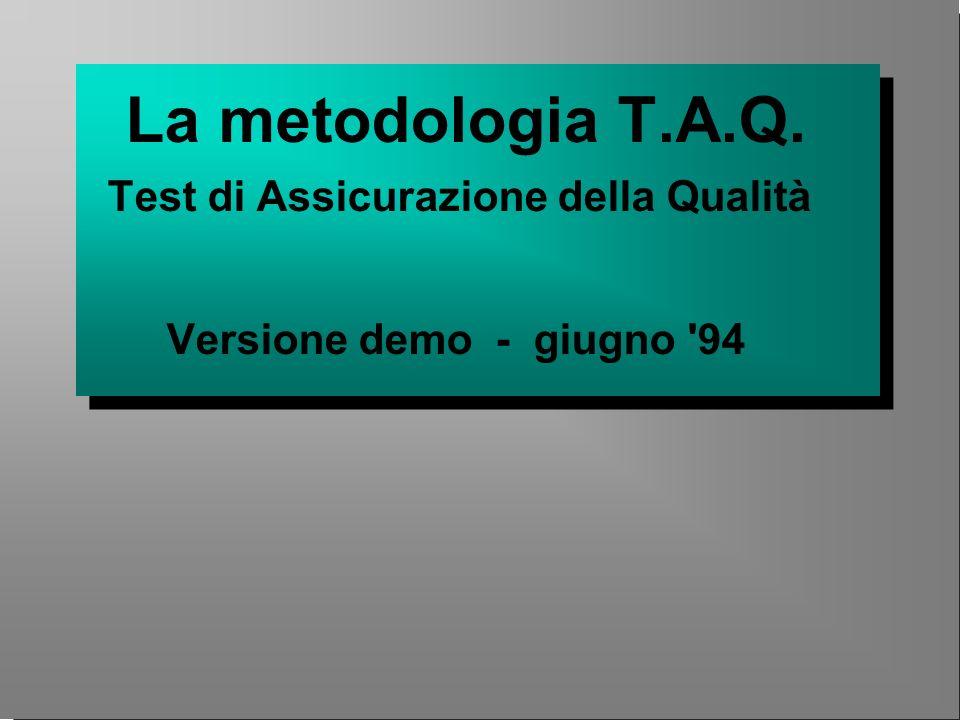 La metodologia T.A.Q. Test di Assicurazione della Qualità Versione demo - giugno '94 La metodologia T.A.Q. Test di Assicurazione della Qualità Version