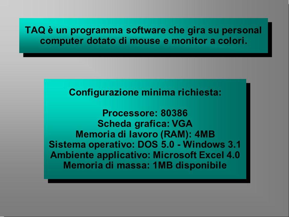 TAQ è un programma software che gira su personal computer dotato di mouse e monitor a colori. Configurazione minima richiesta: Processore: 80386 Sched