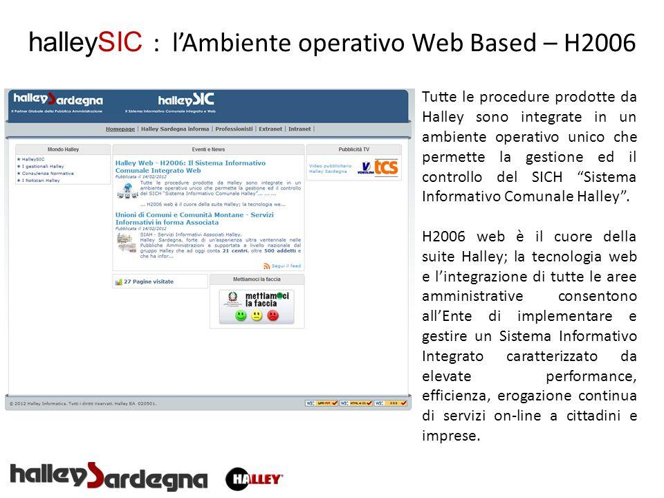 halleySIC : lAmbiente operativo Web Based – H2006 Tutte le procedure prodotte da Halley sono integrate in un ambiente operativo unico che permette la