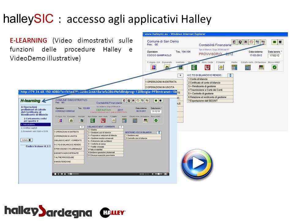 halleySIC : accesso agli applicativi Halley E-LEARNING (Video dimostrativi sulle funzioni delle procedure Halley e VideoDemo illustrative)