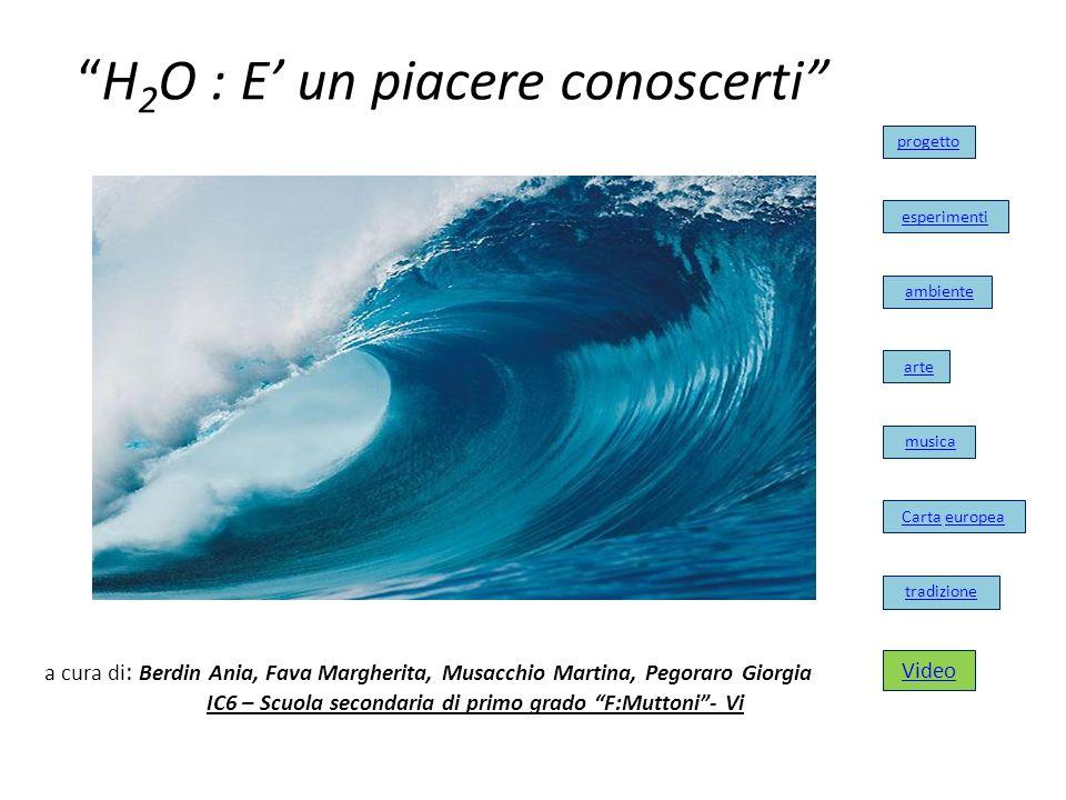 H 2 O : E un piacere conoscerti tradizione progetto esperimenti ambiente arte musica Carta europea a cura di : Berdin Ania, Fava Margherita, Musacchio