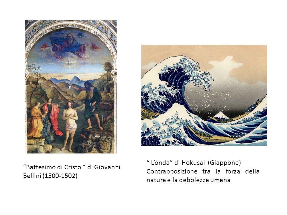 Battesimo di Cristo di Giovanni Bellini (1500-1502) Londa di Hokusai (Giappone) Contrapposizione tra la forza della natura e la debolezza umana
