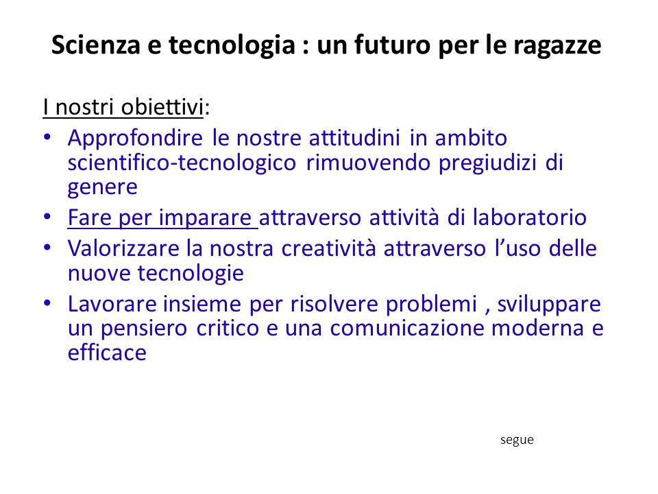 Scienza e tecnologia : un futuro per le ragazze I nostri obiettivi: Approfondire le nostre attitudini in ambito scientifico-tecnologico rimuovendo pre