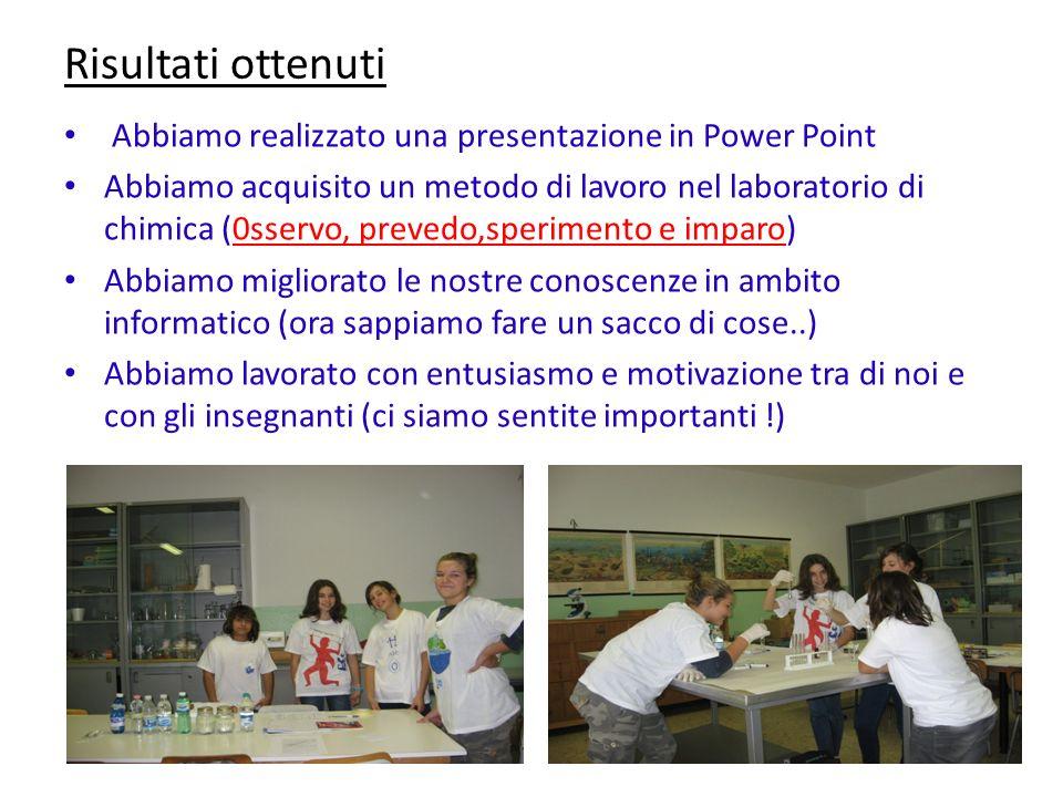 Risultati ottenuti Abbiamo realizzato una presentazione in Power Point Abbiamo acquisito un metodo di lavoro nel laboratorio di chimica (0sservo, prev