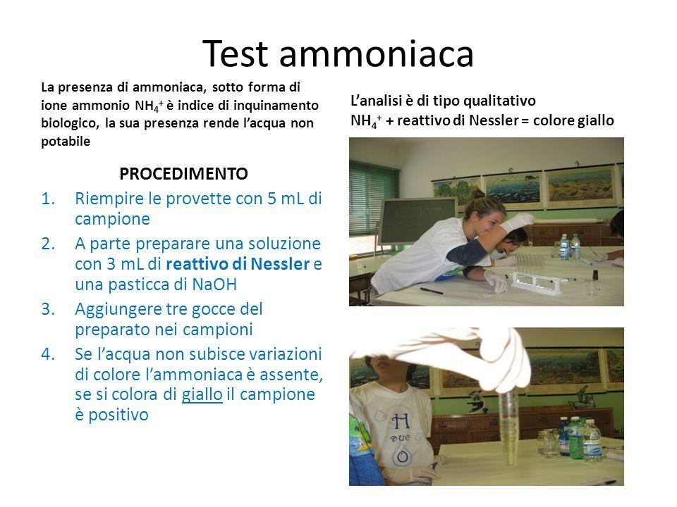 Test ammoniaca La presenza di ammoniaca, sotto forma di ione ammonio NH 4 + è indice di inquinamento biologico, la sua presenza rende lacqua non potab