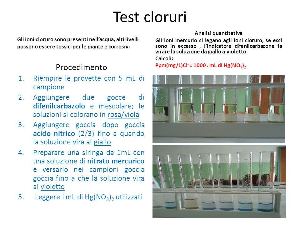 Test cloruri Gli ioni cloruro sono presenti nellacqua, alti livelli possono essere tossici per le piante e corrosivi Procedimento 1.Riempire le provet