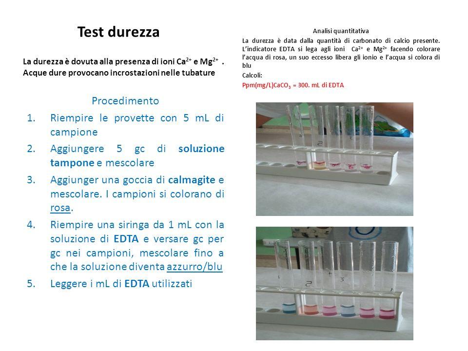 Test durezza La durezza è dovuta alla presenza di ioni Ca 2+ e Mg 2+. Acque dure provocano incrostazioni nelle tubature Procedimento 1.Riempire le pro