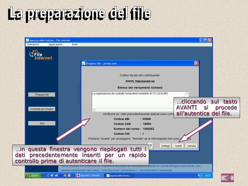 …in questa finestra vengono riepilogati tutti i dati precedentemente inseriti per un rapido controllo prima di autenticare il file.