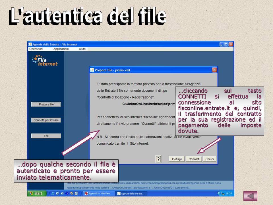 …dopo qualche secondo il file è autenticato e pronto per essere inviato telematicamente.