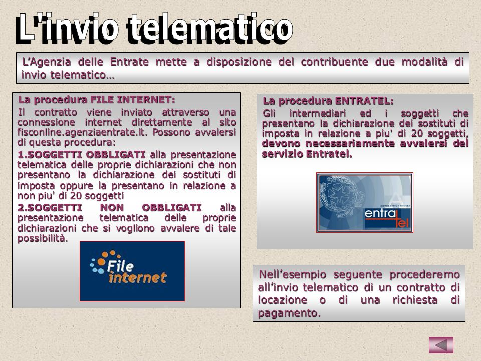 LAgenzia delle Entrate mette a disposizione del contribuente due modalità di invio telematico… La procedura ENTRATEL: Gli intermediari ed i soggetti c