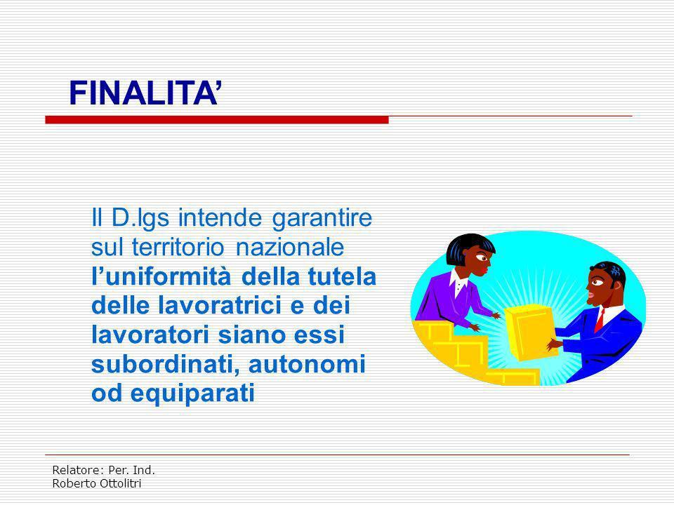 Relatore: Per. Ind. Roberto Ottolitri TITOLO I CAPO I DISPOSIZIONI GENERALI CAPO II SISTEMA ISTITUZIONALE CAPO III GESTIONE DELLA PREVENZIONE NEI LUOG