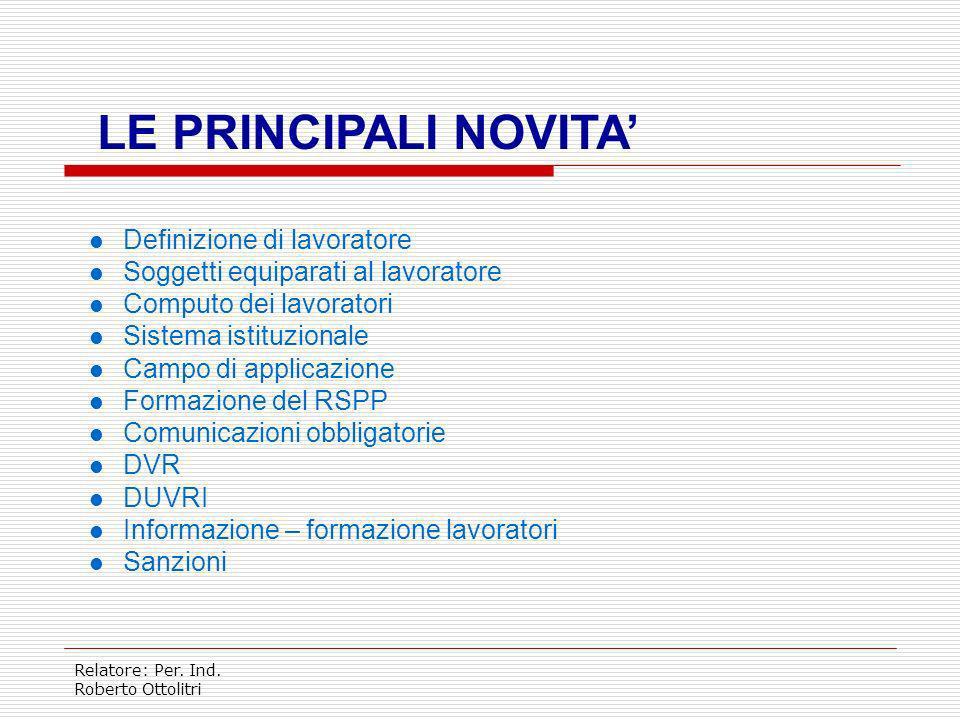 Relatore: Per. Ind. Roberto Ottolitri FINALITA Il D.lgs intende garantire sul territorio nazionale luniformità della tutela delle lavoratrici e dei la