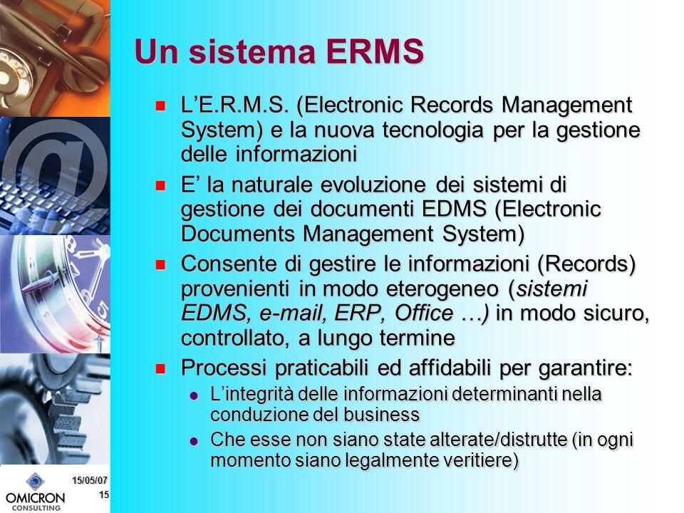 15 15/05/07 Un sistema ERMS LE.R.M.S.