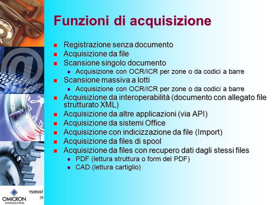 31 15/05/07 Funzioni di acquisizione Registrazione senza documento Registrazione senza documento Acquisizione da file Acquisizione da file Scansione singolo documento Scansione singolo documento Acquisizione con OCR/ICR per zone o da codici a barre Acquisizione con OCR/ICR per zone o da codici a barre Scansione massiva a lotti Scansione massiva a lotti Acquisizione con OCR/ICR per zone o da codici a barre Acquisizione con OCR/ICR per zone o da codici a barre Acquisizione da interoperabilità (documento con allegato file strutturato XML) Acquisizione da interoperabilità (documento con allegato file strutturato XML) Acquisizione da altre applicazioni (via API) Acquisizione da altre applicazioni (via API) Acquisizione da sistemi Office Acquisizione da sistemi Office Acquisizione con indicizzazione da file (Import) Acquisizione con indicizzazione da file (Import) Acquisizione da files di spool Acquisizione da files di spool Acquisizione da files con recupero dati dagli stessi files Acquisizione da files con recupero dati dagli stessi files PDF (lettura struttura o form del PDF) PDF (lettura struttura o form del PDF) CAD (lettura cartiglio) CAD (lettura cartiglio)