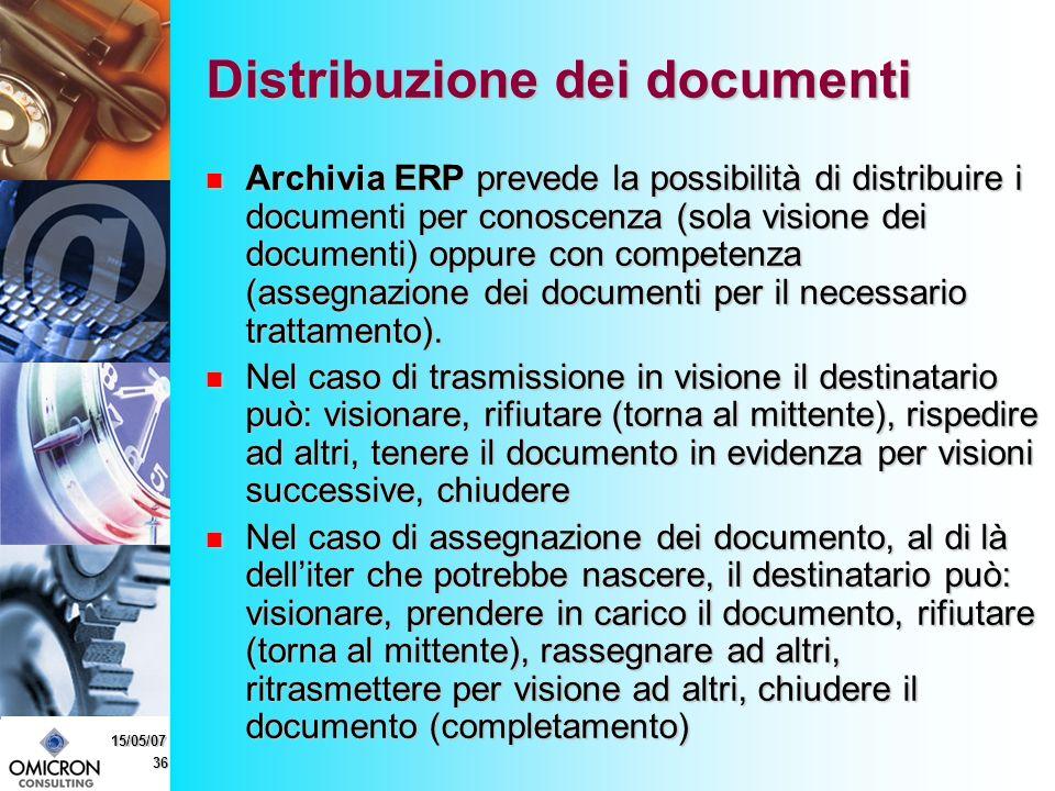 36 15/05/07 Distribuzione dei documenti Archivia ERP prevede la possibilità di distribuire i documenti per conoscenza (sola visione dei documenti) oppure con competenza (assegnazione dei documenti per il necessario trattamento).