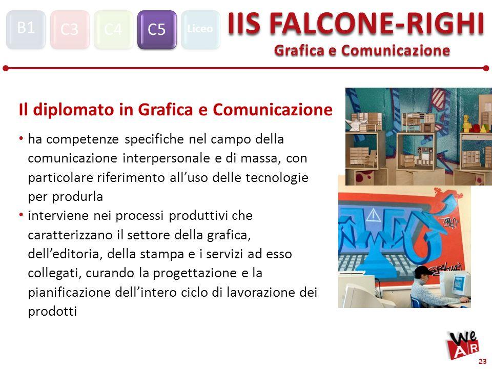 Grafica e Comunicazione C3C4C5 IIS FALCONE-RIGHI S1 B1 Liceo 23 Il diplomato in Grafica e Comunicazione ha competenze specifiche nel campo della comunicazione interpersonale e di massa, con particolare riferimento alluso delle tecnologie per produrla interviene nei processi produttivi che caratterizzano il settore della grafica, delleditoria, della stampa e i servizi ad esso collegati, curando la progettazione e la pianificazione dellintero ciclo di lavorazione dei prodotti