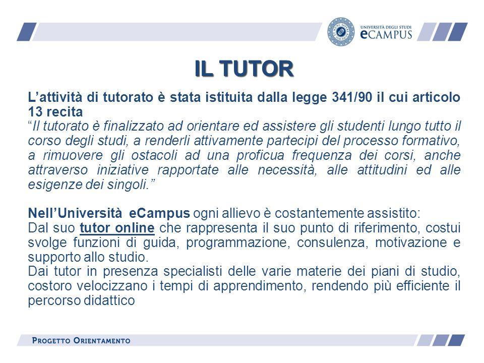 IL TUTOR Lattività di tutorato è stata istituita dalla legge 341/90 il cui articolo 13 recita Il tutorato è finalizzato ad orientare ed assistere gli