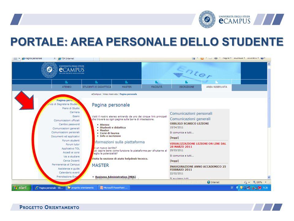 PORTALE: AREA PERSONALE DELLO STUDENTE