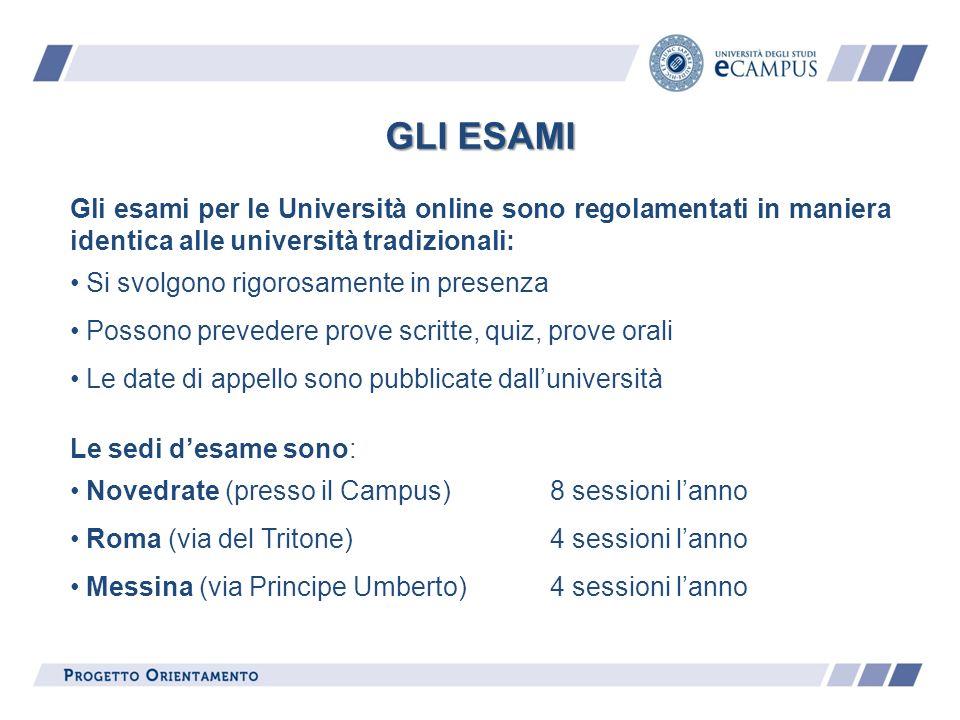 Gli esami per le Università online sono regolamentati in maniera identica alle università tradizionali: Si svolgono rigorosamente in presenza Possono