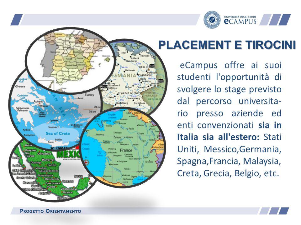eCampus offre ai suoi studenti l'opportunità di svolgere lo stage previsto dal percorso universita- rio presso aziende ed enti convenzionati sia in It