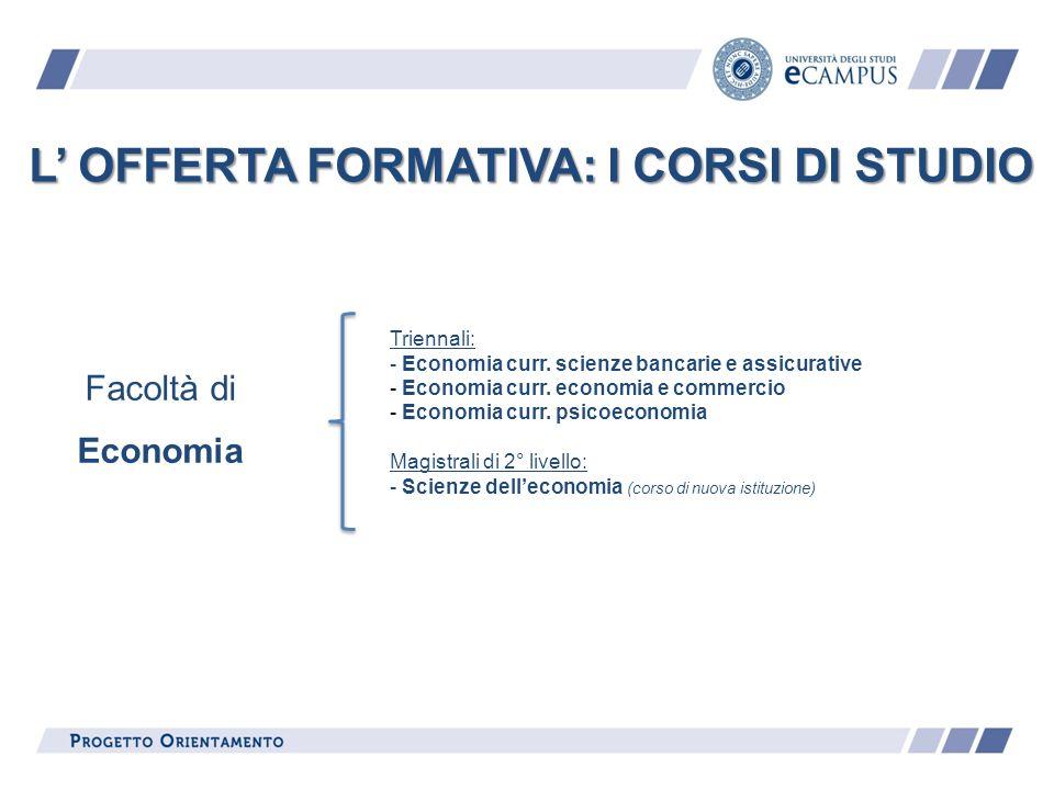 L OFFERTA FORMATIVA: I CORSI DI STUDIO Triennali: - Economia curr. scienze bancarie e assicurative - Economia curr. economia e commercio - Economia cu