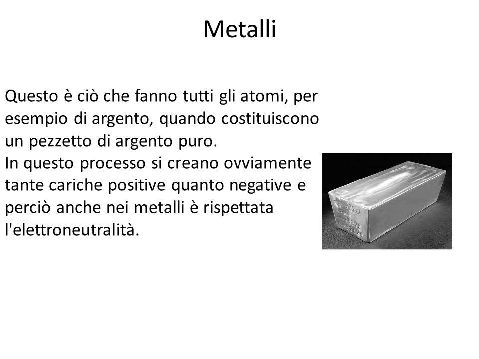 Metalli I cationi formatisi occupano posizioni fisse e ordinate nei cristalli metallici mentre gli elettroni ceduti vengono messi in comune e costituiscono una nuvola elettronica molto mobile responsabile delle proprietà macroscopiche di questi elementi.
