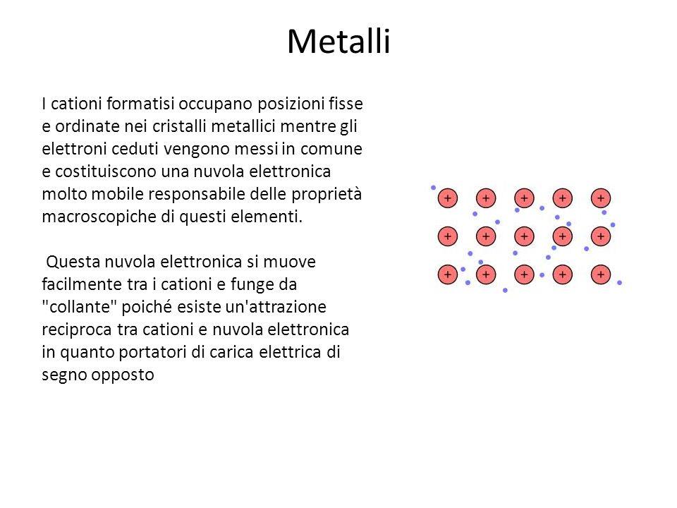 Metalli I cationi formatisi occupano posizioni fisse e ordinate nei cristalli metallici mentre gli elettroni ceduti vengono messi in comune e costitui