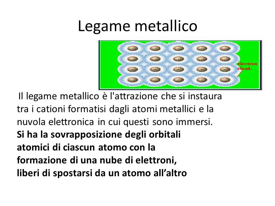 Legame metallico Il modello della loro struttura può essere pensato come formato da ioni positivi immersi in una nube di elettroni mobili (quelli di valenza) diffusa per tutto il reticolo.