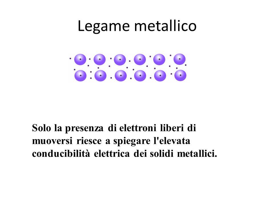 Legame metallico Solo la presenza di elettroni liberi di muoversi riesce a spiegare l'elevata conducibilità elettrica dei solidi metallici.