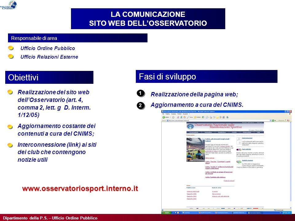 Dipartimento della P.S. – Ufficio Ordine Pubblico Realizzazione del sito web dellOsservatorio (art.