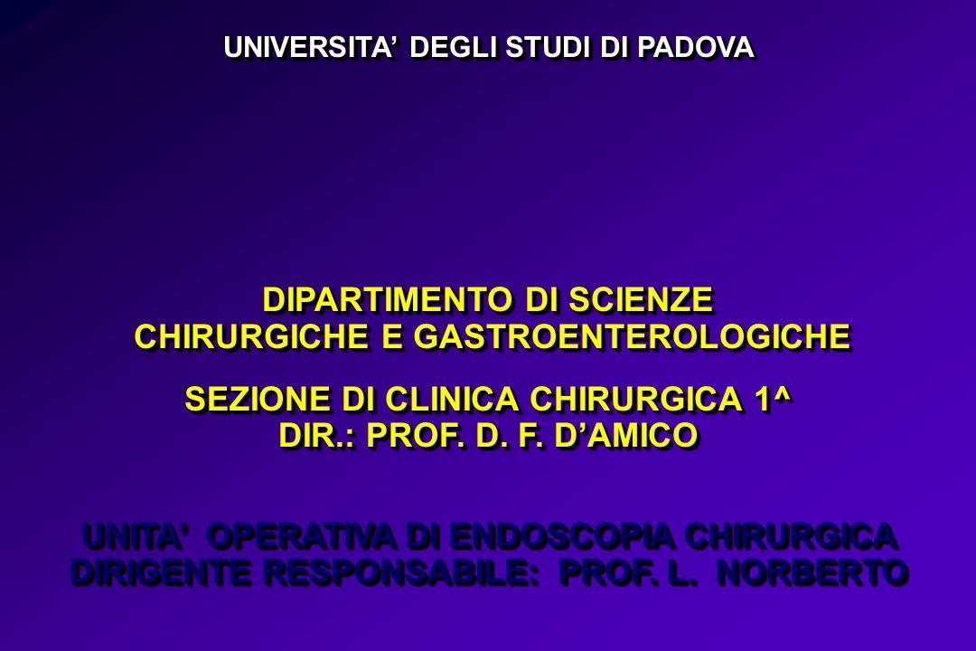 UNIVERSITA DEGLI STUDI DI PADOVA DIPARTIMENTO DI SCIENZE CHIRURGICHE E GASTROENTEROLOGICHE SEZIONE DI CLINICA CHIRURGICA 1^ DIR.: PROF. D. F. DAMICO U