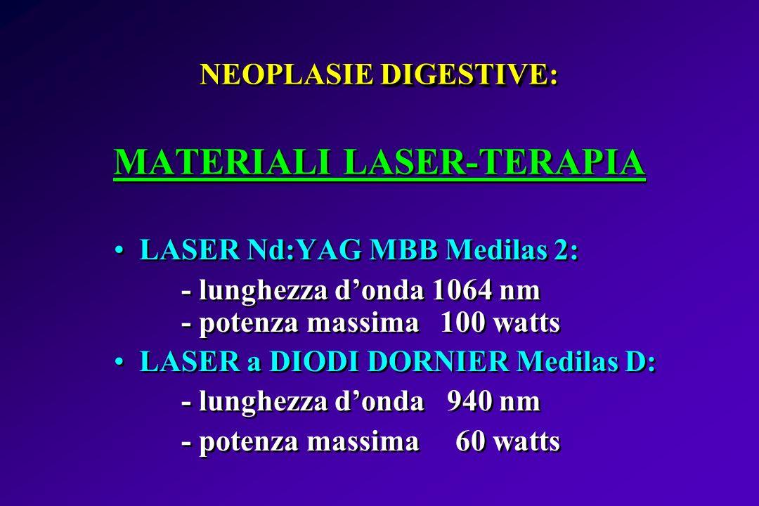 DIGESTIVE NEOPLASIE DIGESTIVE: MATERIALI LASER-TERAPIA LASER Nd:YAG MBB Medilas 2: - lunghezza donda 1064 nm - potenza massima 100 watts LASER a DIODI