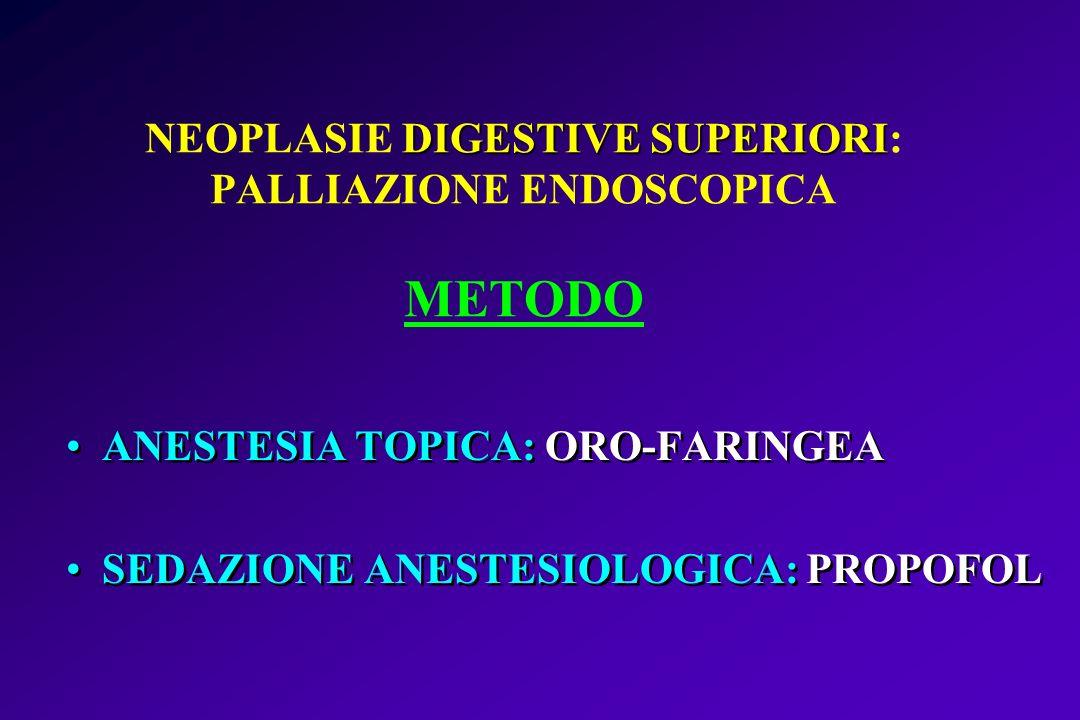 DIGESTIVE SUPERIORI NEOPLASIE DIGESTIVE SUPERIORI: PALLIAZIONE ENDOSCOPICA METODO ANESTESIA TOPICA: ORO-FARINGEA SEDAZIONE ANESTESIOLOGICA: PROPOFOL A